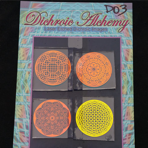 D03 : Mandala Geometry 1.33 inch Boroimage Themepack COE33 Laser Etched Images for Flameworking. This pack contains 4 of the 1.33 inch chips (size D)