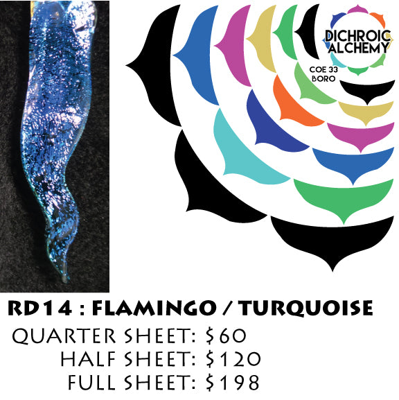 Dichroic Plate Glass: RD14 Flamingo Turquoise 0.125