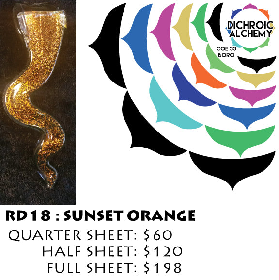 Dichroic Plate Glass: RD18 Sunset Orange 0.125