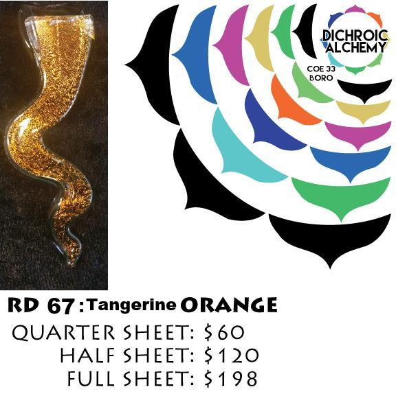 Dichroic Plate Glass: RD67 Tangerine Orange 0.125