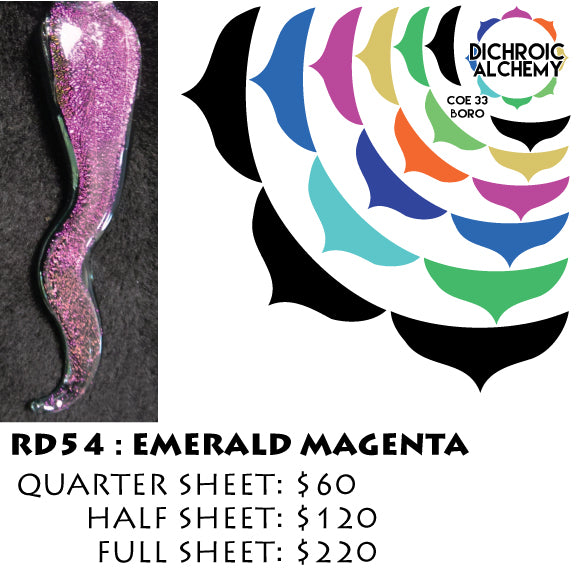 Dichroic Plate Glass: RD54 Emerald Magenta 0.125