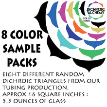 Dichroic Plate Glass Sample Pack : 8 colors , 16 square inches, 5.5 ounces