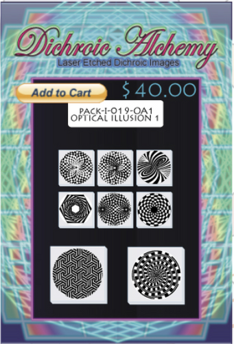 Optical Illusion Radial Mix #1 : Boroimage Themepack COE33 Laser Etched Images for Flameworking