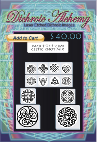 Celtic Knot Mix : Boroimage Themepack COE33 Laser Etched Images for Flameworking