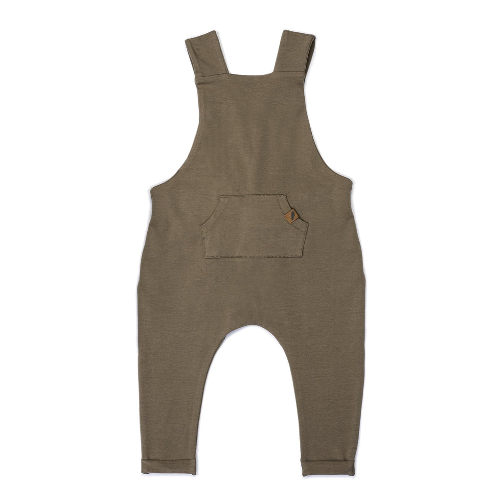 Organic Suspender Pants- Bark