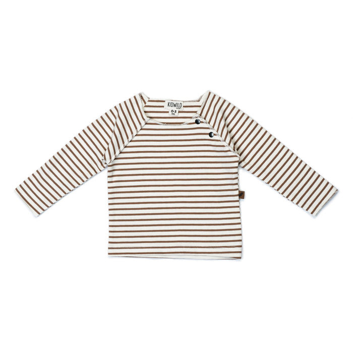 Organic Raw Edge Top- Caramel Stripe