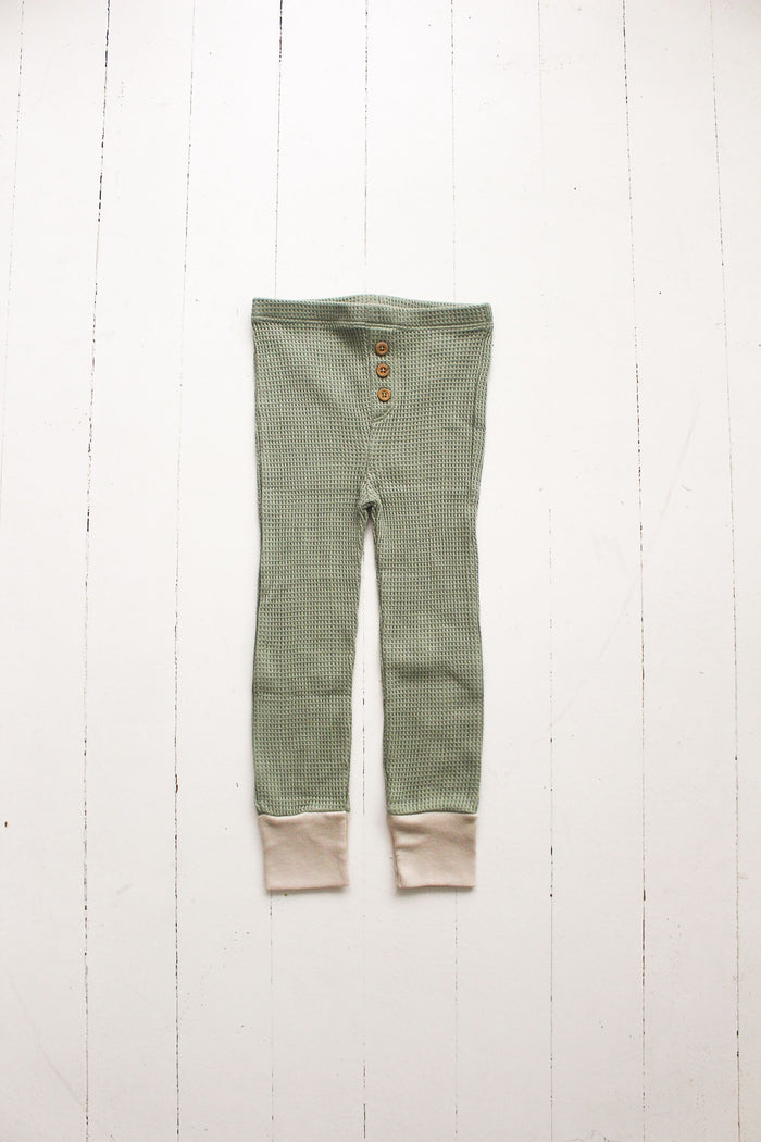 Sage Waffle Button Pant