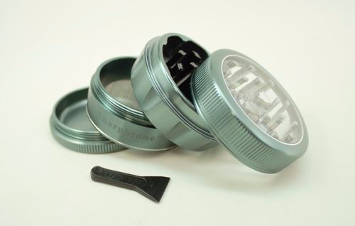Sharpstone V2 Herb Grinder 2 Inch 4 Pc Clear Top Aluminum Green