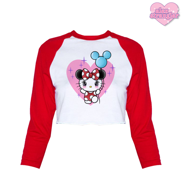 Kitty Goes To The Park - Women's Cropped Raglan