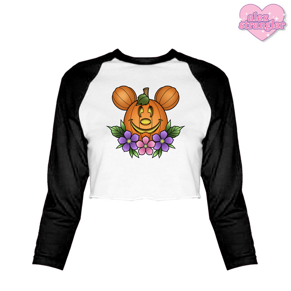 Main Street Pumpkin - Women's Cropped Raglan