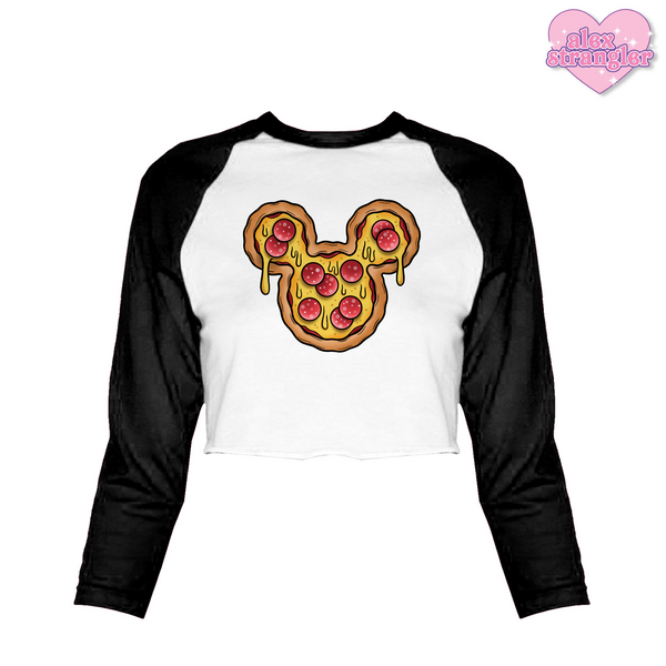 Mr. Pizza Mouse - Women's Cropped Raglan