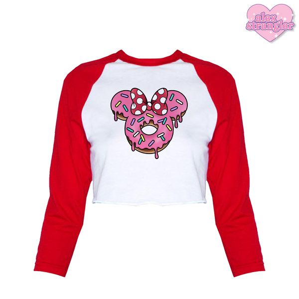 Mrs. Donut Mouse - Women's Cropped Raglan