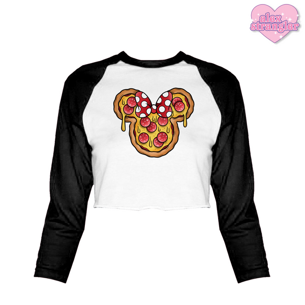 Mrs. Pizza Mouse - Women's Cropped Raglan