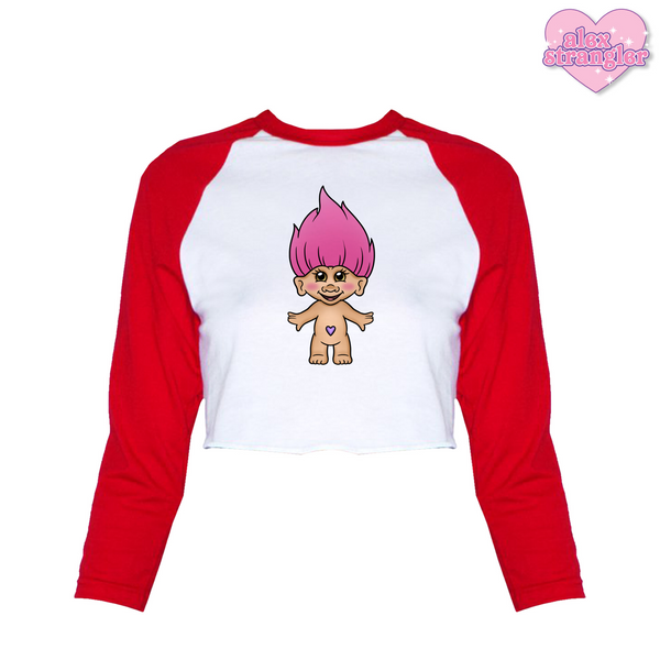 Pink Troll Doll - Women's Cropped Raglan