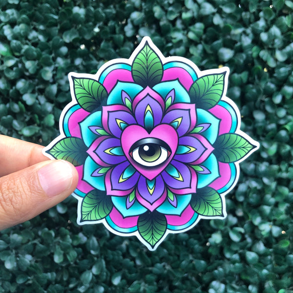 Heart Eye Geo-Flower - Sticker
