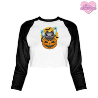Spoopy Kitty - Women's Cropped Raglan