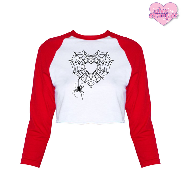 Spiderweb Heart - Women's Cropped Raglan