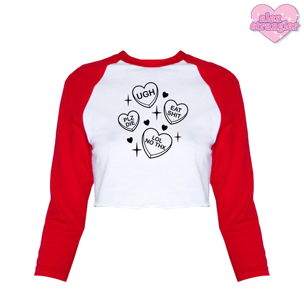 Mean Candy Hearts - Women's Cropped Raglan