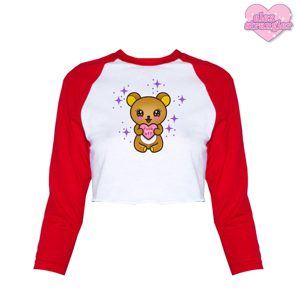 Rude Bear - Women's Cropped Raglan