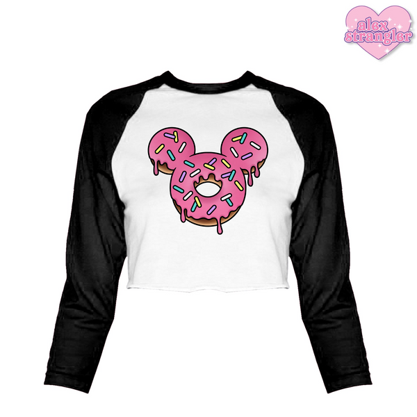 Mr. Donut Mouse - Women's Cropped Raglan