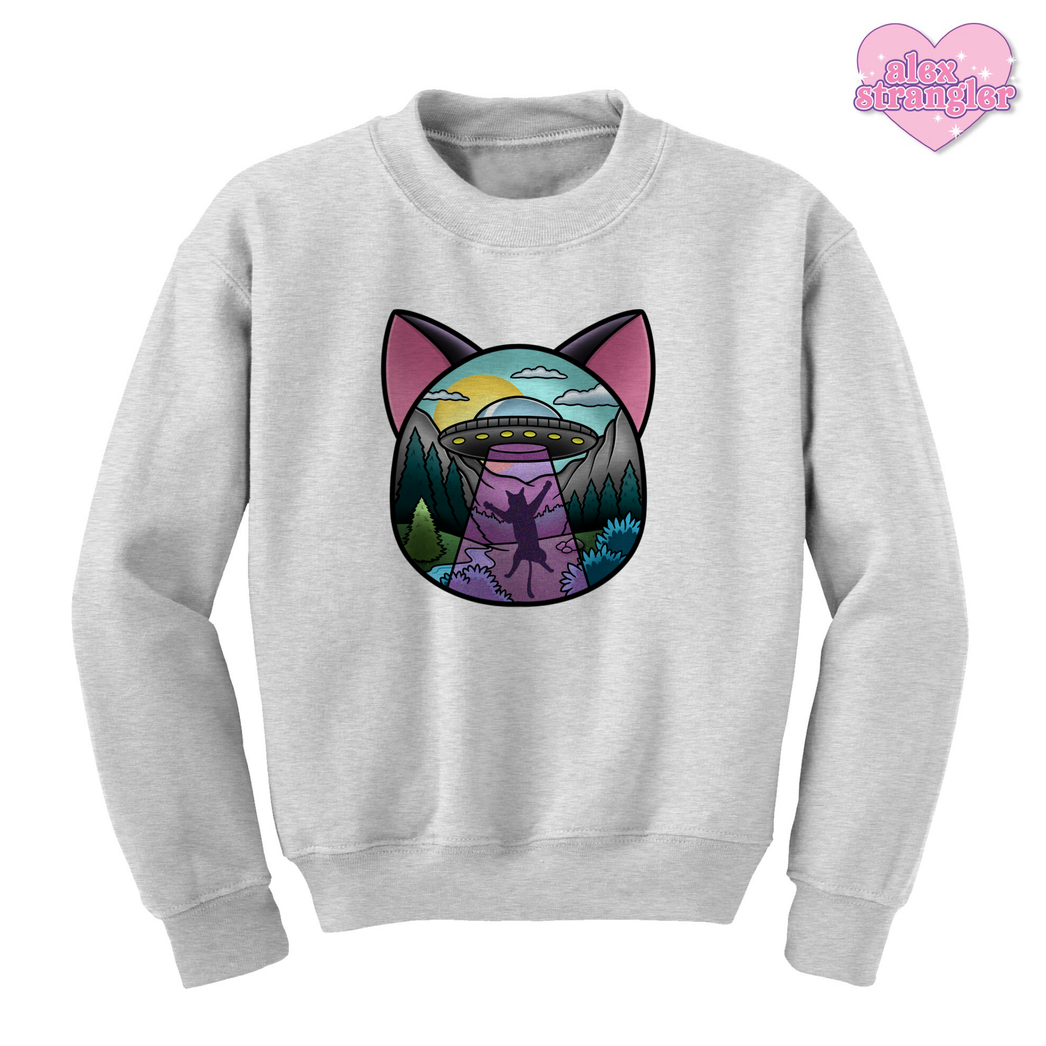 UFO Cat Abduction - Unisex Crewneck Sweatshirt