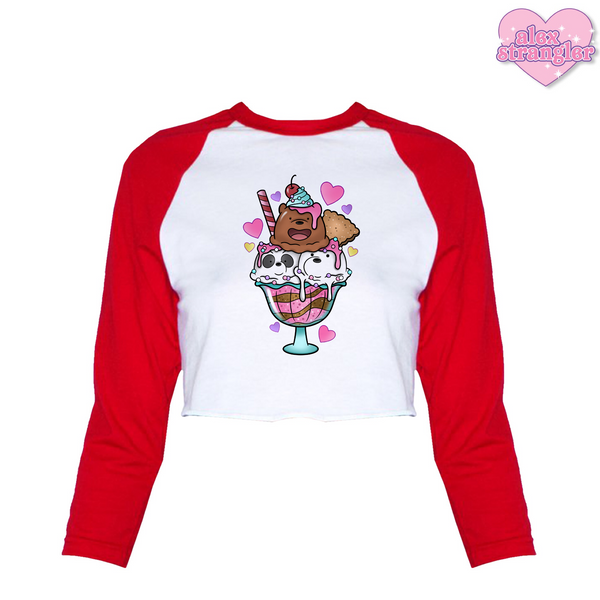 Bear Sundae - Women's Cropped Raglan
