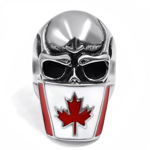 Stainless Steel Canadian Flag Skull Ring
