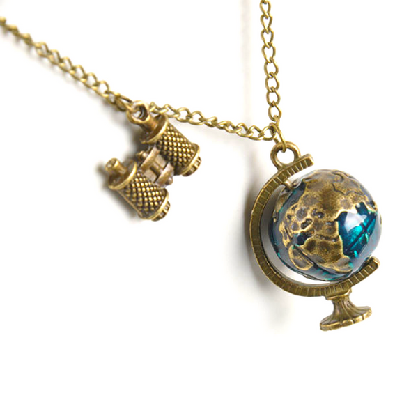 World Traveller's Gold Chain Pendant