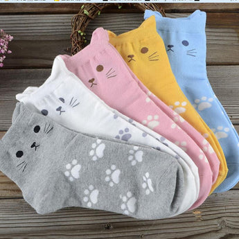 Casual Cotton Cat Socks