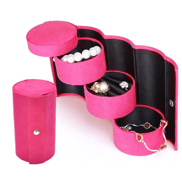 3 Layer Jewelry Travel Round Case