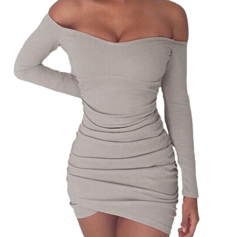 new fashion Women Bandage Bodycon Off Shoulder party club sexy Mini Dress long sleeve backless solid pencil mini dress