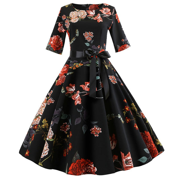 2018 Autumn Elegant Dresses Women Vintage Style Half Sleeve Floral Print Dresses Casual Evening Party Dance Swing Dress Vestidos