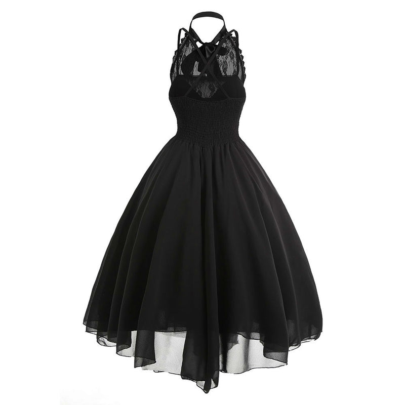 2018 Fashion Gothic Bow Party Dress Women Vintage Black Sleeveless Cross Back Lace Panel Corset Swing Dress Robe Vestidos Femme