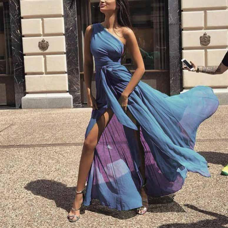 2018 Fashion Sexy Dress One Shoulder Chiffon Maxi Dress Women Summer Thin and Elegant Beach Long Dress Ladies Party Dress Drop