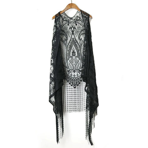 291c7f2044d98 2018 Harajuku Summer Women Blouses Lace Crochet Boho Women Cardigans Blouse  Sleeveless Tassles Women Cape Kimono