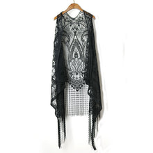 Harajuku Summer Women Blouses Lace Crochet Boho Women Cardigans Blouse Sleeveless Tassles Women Cape Kimono Blusa