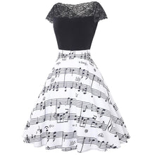 2018 Musical Note Print Women Vintage Retro swing patchwork Dress White black Female Casual Music Swing Dresses 50s