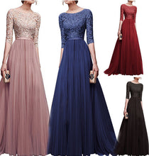 New Elegant Full Sleeve Chiffon Lace Stitching Floor-length Women Party Prom Evening Red Long Dress Female Clothing Clothes