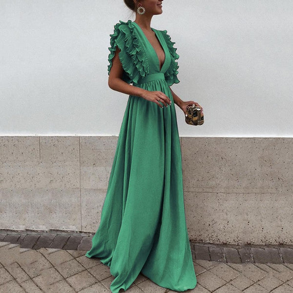2018 New Fashion Solid Women Dress Sexy Green V Neck Backless Flying Short Sleeves Maxi Dress Summer Party Beach Long Dress