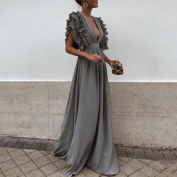 Women Dress Sexy Gray V Neck Backless Flying Short Sleeves Maxi Dress Summer Solid Beach Party Long Dress