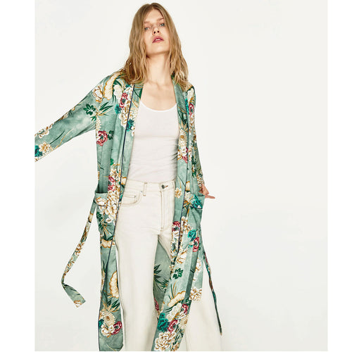 2018 New Vintage Pareo Retro Floral Print Green Long Kimono Jacket Long Sleeve Cardigan Maxi Shawl Summer Tops Belted Beachwear