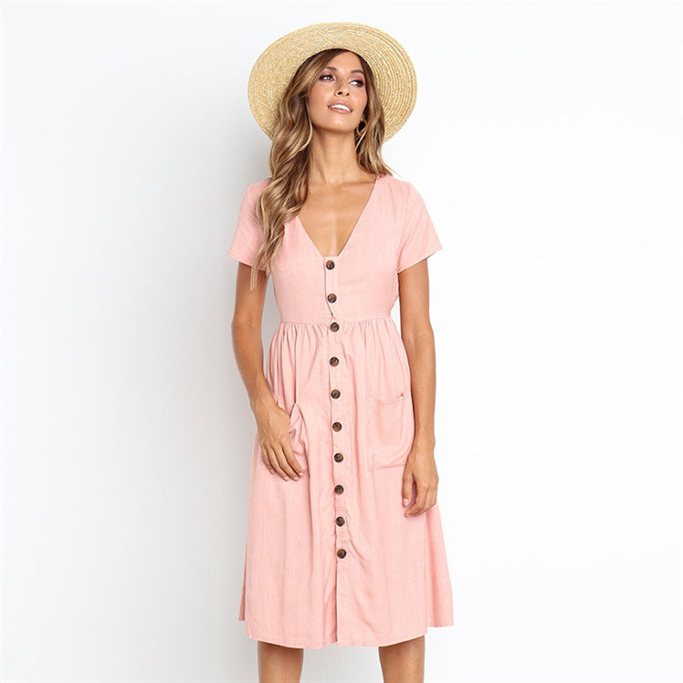New Women Fashion Summer Elegant Dresses Short Sleeve V-Neck Button Swing Beach Sundress Casual Midi Dress with Pockets