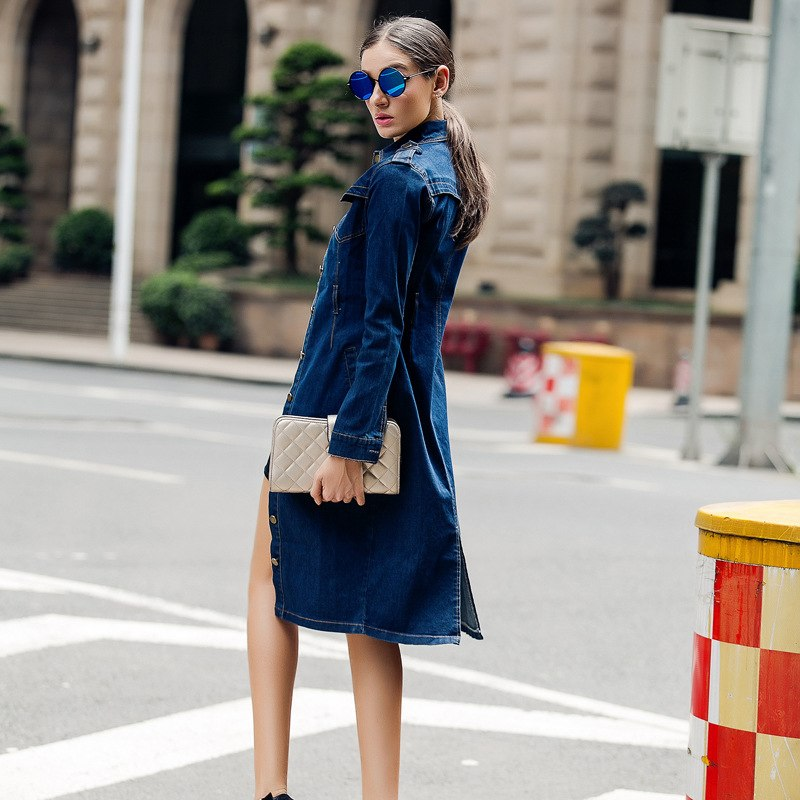 Plus size 4XL Women Spring Cotton Slim Denim Dress Long Sleeve Vintage Casual midi pencil Dress With Belt