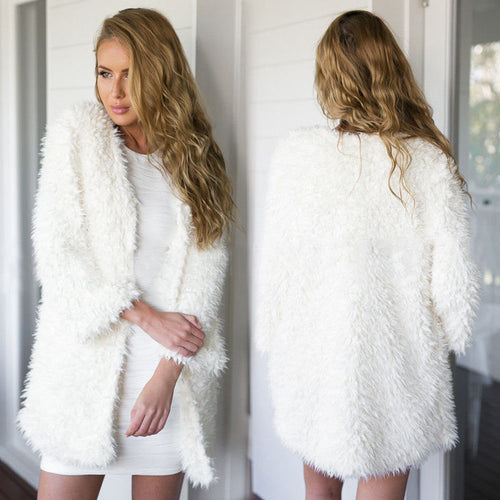 2018 Winter Autumn Women Clothes Fluffy Shaggy Faux Fur Cardigan Whit Color Slim Long Warm Outwears Sweaters