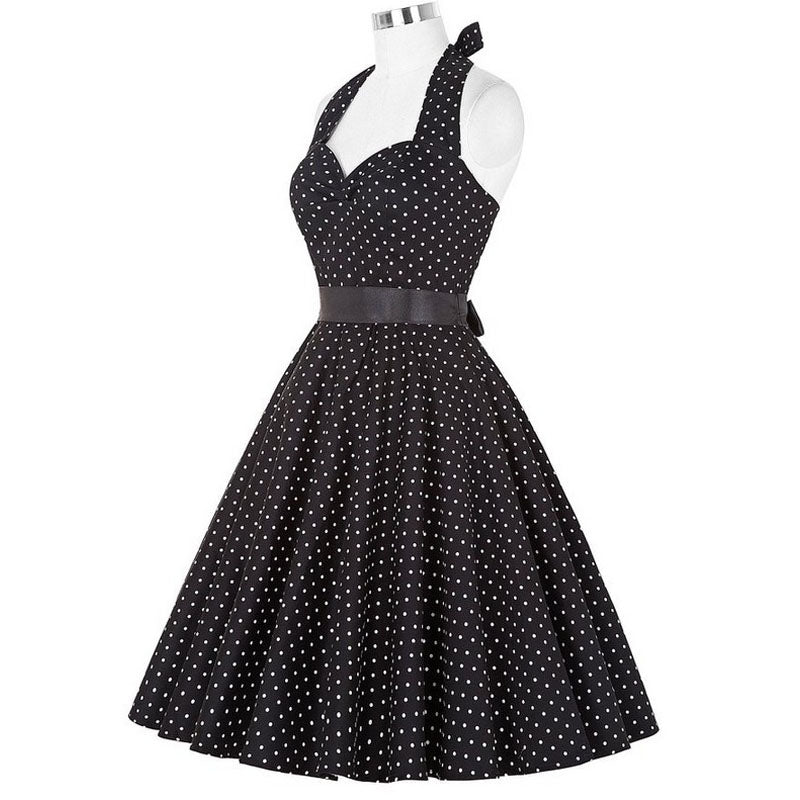 Women Polka Dot Dress Big Swing Vestidos Retro Robe Casual Prom Rockabilly Party Dress 50s 60s Pinup Vintage Dresses