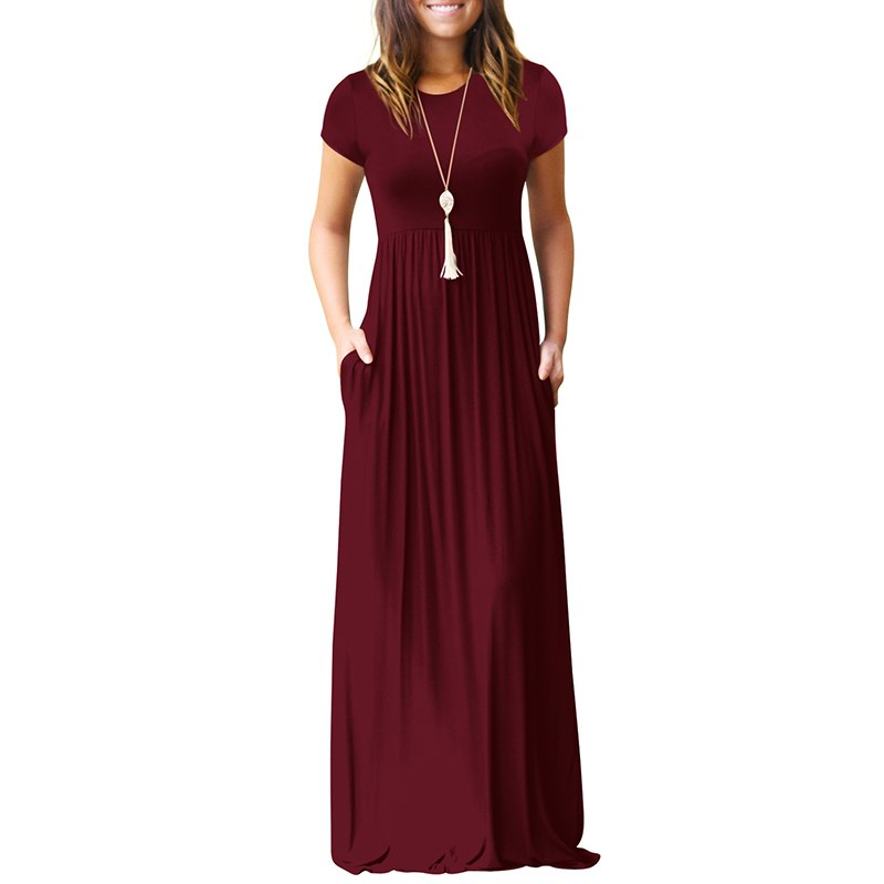 2018 Women Short Sleeve Summer Maxi Dress Casual O Neck Solid Pocket Floor Length Long Dress for Women Party Dresses Femme New