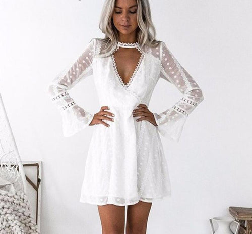 2018 Women Spring Summer Dress Flare Sleeve Long Sleeve V Neck Mini White Dot Lace Dresses Female Casual Beach Chiffon Dress