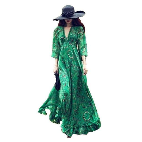 Women Spring/Summer Long Dress Chiffon Deep V-Collar Boho Vestido Flare Sleeves Floral Print Casual Maxi Dress