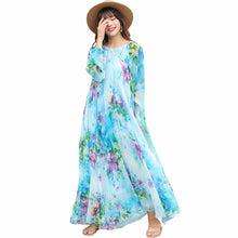 2018 chiffon Long Sleeve maxi dress bohemia dress full plus size celebrity/graduation/Dinner Dress Beach Sundress