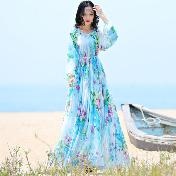 chiffon Long Sleeve maxi dress bohemia dress full plus size celebrity/graduation/Dinner Dress Beach Sundress
